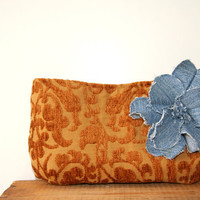 harvest gold upholstery clutch with denim flower brooch / recycled / denim / ticking fabric / fall fashion
