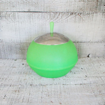 Ice Bucket Danish Modern Ice Bucket Space Age Cookie Jar Merpa of Italy Green Plastic Cookie Jar Plastic Ice Cooler Retro Barware Bar Cart
