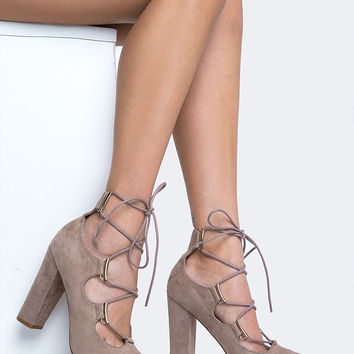 Lace Up Chunky High Heel