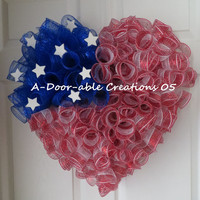I HEART/LOVE AMERICA..Patriotic Deco Mesh Wreath