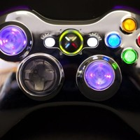 CHROME BLUE LED Xbox 360 Modded Controller (Rapid Fire) COD Ghosts, Black Ops 2, MW2, MW3, MOD GAMEPAD