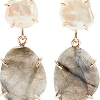 Melissa Joy Manning - 14-karat gold, pearl and labradorite earrings