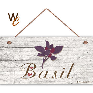 "Basil Sign, Garden Sign, Rustic Decor, Herb on Distressed Wood, Weatherproof, 5"" x 10"" Sign, House Gift, Gift For Gardener, Made To Order"