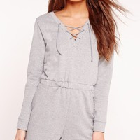 Missguided - Sweater Lace Up Playsuit Grey