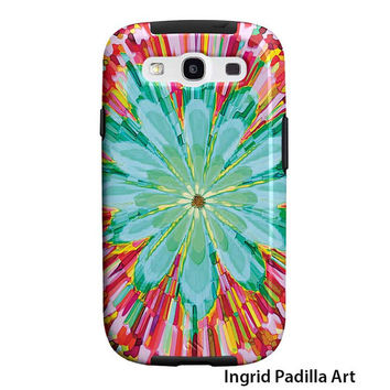 Floral, Samsung Galaxy S3 Case, Galaxy S4 Case, Big Blue Flower, Tough Case, Funky Abstract Art, phone cases