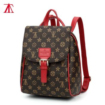 Fashion Flower Print Casual Sport Laptop Bag Shoulder School Bag Backpack