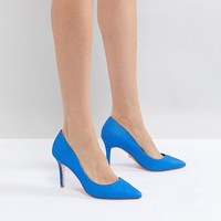 Dune pointed leather pumps in bright blue at asos.com