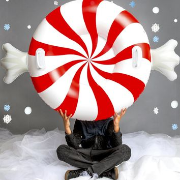 Giant Peppermint Twist Snow Tube - As Seen in Everyday with Rachael Ray and HGTV Magazine