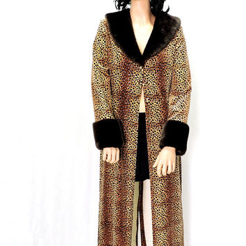 Velvet leopard coat with faux fur trim / size M / 90s long leopard duster coat / cheetah animal print long velvet jacket / made in USA