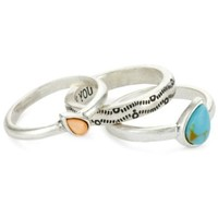 "Lucky Brand ""Saddle Up Rings"" Silver-Tone Set Of 3 Stacked Ring, Size 7 - designer shoes, handbags, jewelry, watches, and fashion accessories 