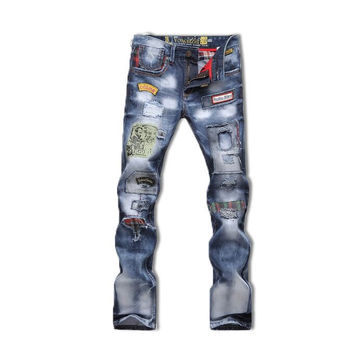 Distressed Ripped Slim Fit Men's Jeans