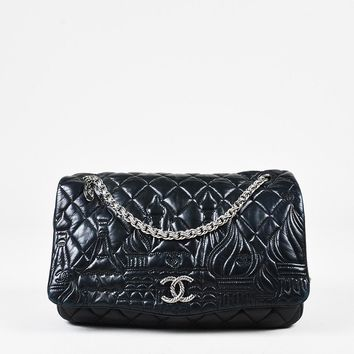 "Chanel Black Lambskin Leather Jumbo ""Paris Moscou Red Square Kremlin Flap"" Bag"