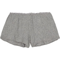 Skin - Lace-trimmed ribbed Pima cotton pajama shorts