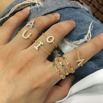 Custom Personalized delicate Alphabet Rings A-Z Initial Letter Name Rings Charm Jewelry Fashion Love Gift chain tiny thin ring