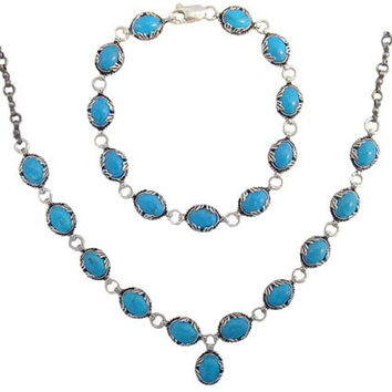 Turquoise Necklace & Bracelet Silver Set II