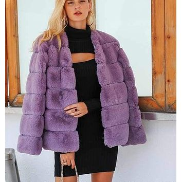 KAIAN Fluffy Square Faux Fur Coat