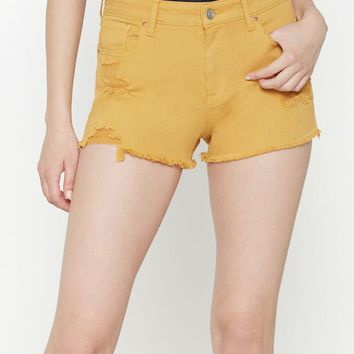 PacSun Dijon High Rise Super Stretch Denim Shorts at PacSun.com