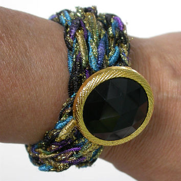 Knitted Fiber Wrap Bracelet with Large Vintage Inspired Button, Lightweight, Gift, Blue, Black, Gold, Purple Metallic, Bling