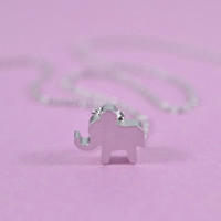 Sweet Baby Elephant Necklace, Rhodium Plated Brass Pendant, Delicate Chain, Everyday Wear, Perfect Gift