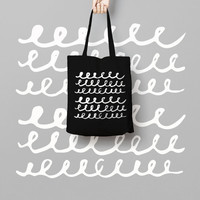 Geometric Black Tote Bag Hand Drawn - Canvas Tote Bag - Printed Market Bag - Cotton Tote Bag - Large Canvas Tote - Funny Tote Bag Dots