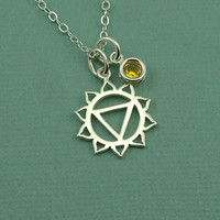 Solar Plexus Chakra Gemstone Necklace - sterling silver hindu yoga necklace - buddhist jewelry - gift
