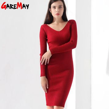 Sweater Dress Women Slim Pullover Clothing V Neck Warm Knitted Sweater Knit Ladies Long Sleeve Dress Warm Ladies GAREMAY Winter