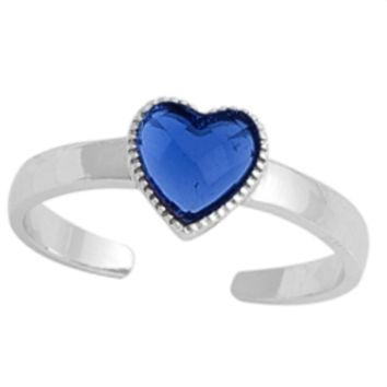.925 Sterling Silver Blue Sapphire Heart Adjustable Ring for Ladies and Kids CZ Midi or Toe