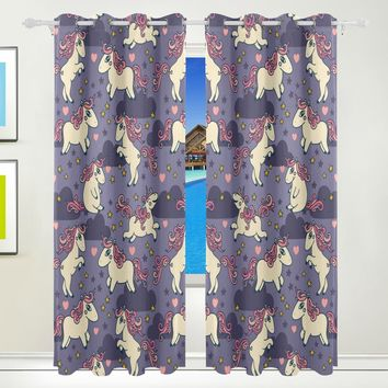 DEYYA Beautiful Rainbow Unicorn Curtains Drapes Panels Darkening Blackout Grommet Room Divider for Patio Window Sliding Glass Door 55x84 Inches,2 Panels