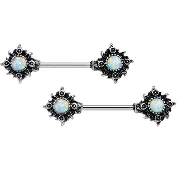 "14 Gauge 5/8"" White Synthetic Opal Tribal Sun Nipple Barbell Set"