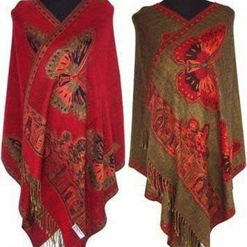 Hot! red  New Chinese Lady's Butterfly Double-Side Silk Pashmina Scarf Wrap Shawl free shipping