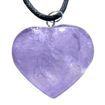 Healing Crystal Puffy Heart Amethyst Gemstone Lucky Charm Pendant Necklace