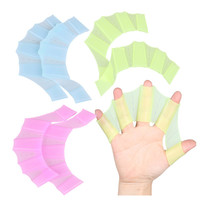 1 Pair Multi Size Soft Silicone Hand Swimming Fins Flippers Swim Palm Finger Web Webbed Gloves Training Paddle Dive