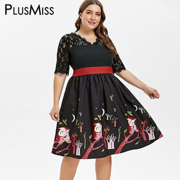 PlusMiss Plus Size Vintage Retro Lace Crochet Party Dresses XXXXL XXXL Women Big Size Owl Print Black A Line Swing Dress Ladies