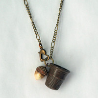 Acorn and Thimble Hidden Kisses Necklace - Peter Pan and Wendy