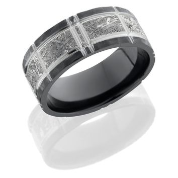 Zirconium ring 8.5mm hand crafted Flat Band with 5mm Meteorite inlay and Crosshatch Pattern