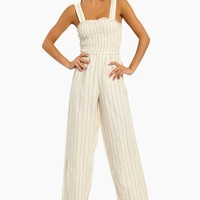 Willow Smocked Jumpsuit - Mauve Stripes