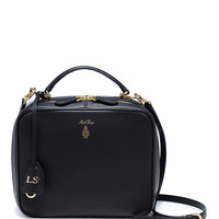 Monogrammable Laura Shoulder Bag in Smooth Black Calf Leather