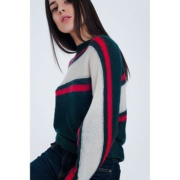 Green Sweater With Red And White Stripes