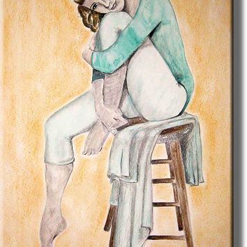 Ballet Dancer Sitting Picture on Stretched Canvas, Wall Art Décor, Ready to Hang
