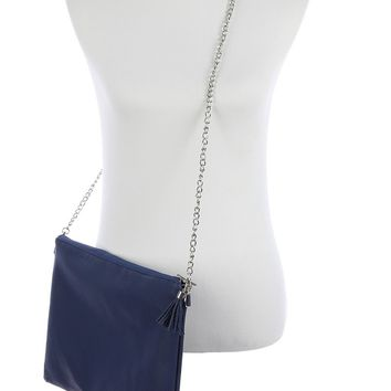 Navy Blue Faux Leather Crossbody Clutch Bag Accessory