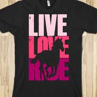 Live, Love, Ride (Horse)-Unisex Black T-Shirt