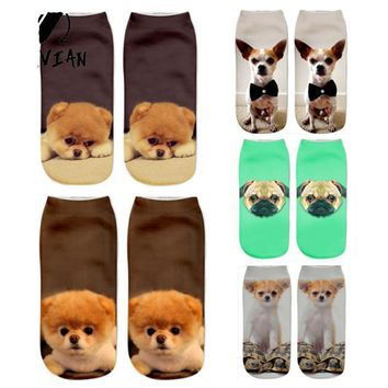 Puppy Dogs Pugs Chihuahua Socks Funny Crazy Cool Novelty Cute Fun Funky Colorful
