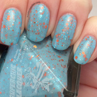 I Can Fly Nail Polish - Blue Orange Glitter Crelly  - Where Dreams Are Born Collection - Full Size 15 ml Bottle