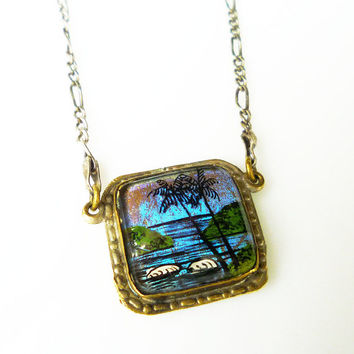 Butterfly Wing Necklace Brazil Beach Palm Tree  Sterling Silver Italy Souvenir Vintage Jewelry
