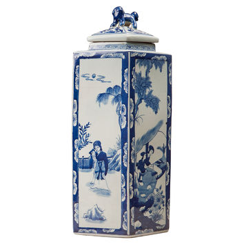 "21"" Chinoiserie Lidded Jar, Blue/White, Jars, Canisters, Tins & Bottles"