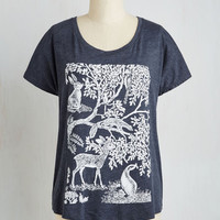 Rustic Mid-length Short Sleeves Forest Time I Saw You Tee