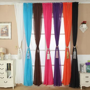 Home Solid Color Tulle Door Window Curtain Drape