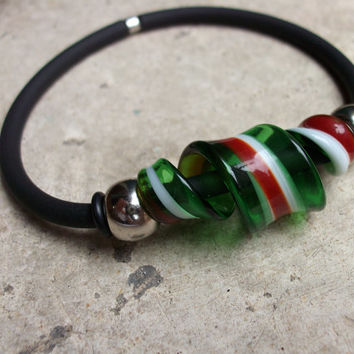 Murano glass Italian Horizon Vortex bracelet,  Handcrafted in Venice, Italy from Murano glass canes red, white and green