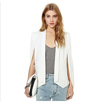 XS-XXL 6 Size Women Fashion White & Black Lapel Split Long Sleeve Pockets Casual Blazer Cape Suit Workwear Women's Blazers