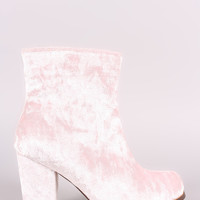 Crushed Velvet Chunky Heeled Ankle Boots